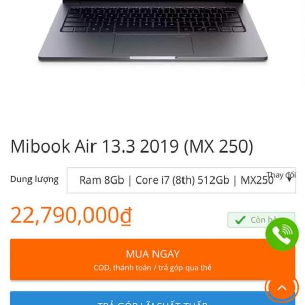 Mibook Air 13.3.2019 (MX 250) dòng này ổn chứ các bác?