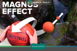 """Hiệu ứng Magnus làm cho Quả bóng sẽ """"BAY"""" thay vì rơi thẳng xuống khi chúng ta khiến nó xoay trước khi thả rơi tự do"""