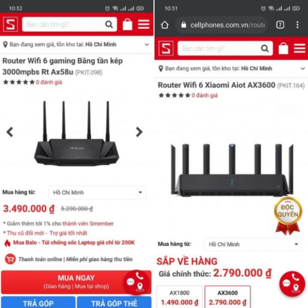 Cho em xin ý kiến của những ai từng dùng qua 2 con Router này đc ko nhỉ